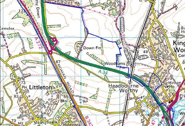 A map Headbourne Worthy