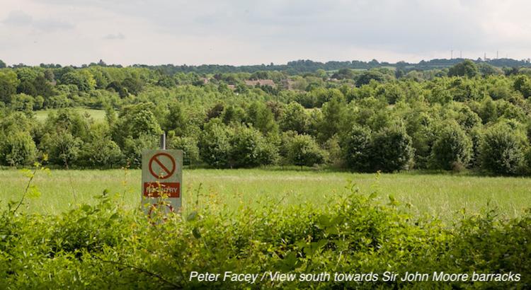 View south towards Sir John Moore barracks